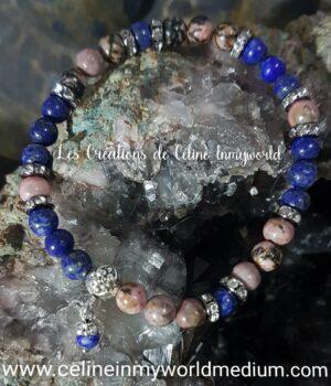 Bracelet pour l'acceptation, en Rhodonite et Lapis-lazuli