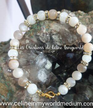 Bracelet pour l'Éveil spirituel et lutter contre la dépression en Pierre de Lune et Héliolite