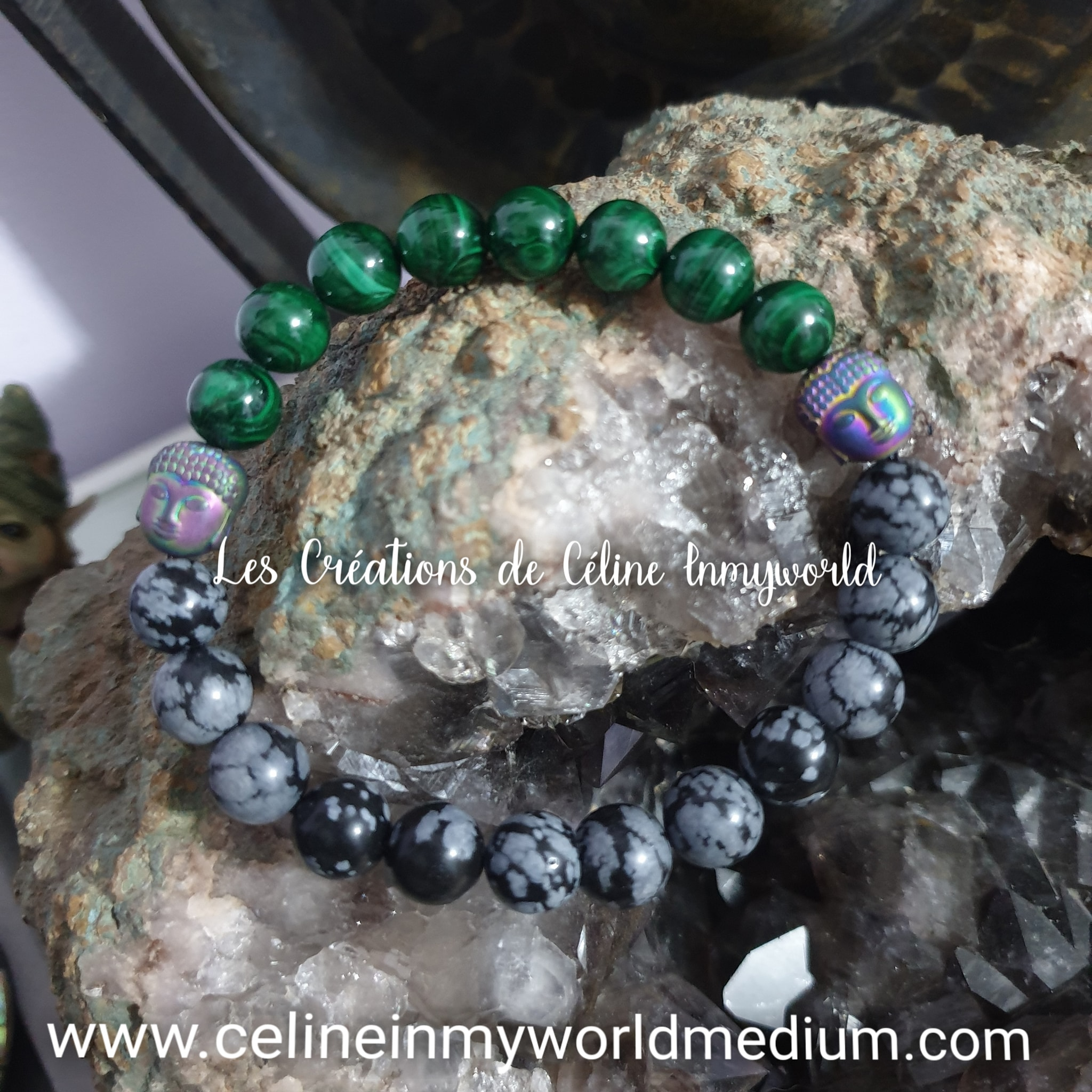 Bracelet pour la motivation et un nouvel élan dans sa vie, en Malachite et Obsidienne flocons de neige, avec Bouddha