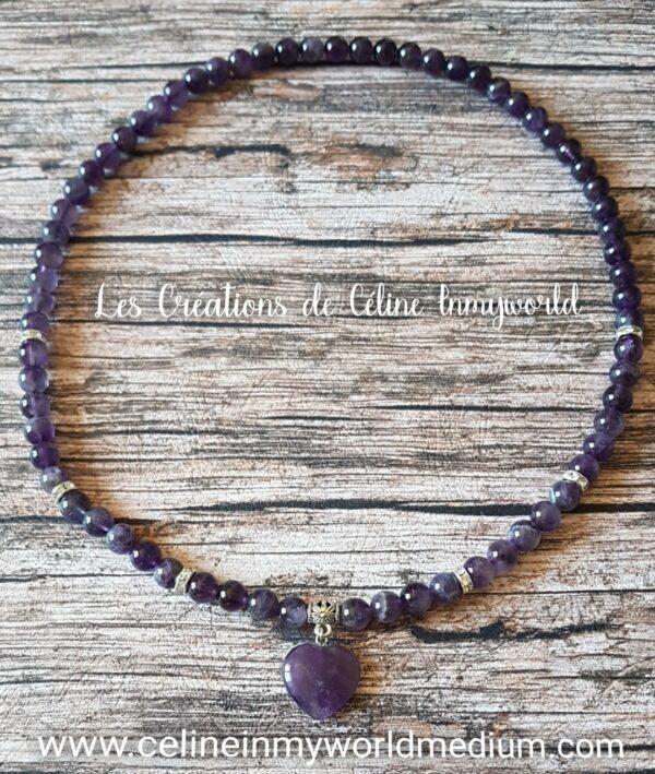 Collier coeur d'Améthyste foncée, aide à la paix intérieure et le dépassement du deuil, agit sur le chakra coronal