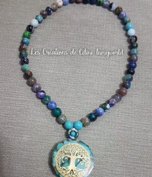"""Collier ras-de-cou Chemin de vie (personnalisé) avec orgonite """"arbre de vie"""" en Turquoise"""