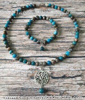 Parure collier et bracelet pour le calme, la sérénité et la motivation, en Apatite bleue et Vulcanite