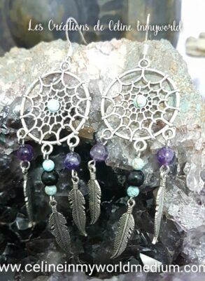 Boucles d'oreilles Attrape-rêves en Turquoise, Tourmaline noire et Améthyste.