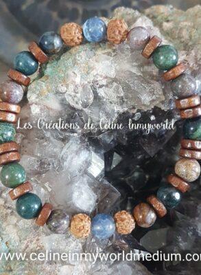 Bracelet Chemin de vie (personnalisé) en Agate indienne, Agate à signature d'inflammation, Métarhyolite et Graines de Rudraksha (Bodhi)