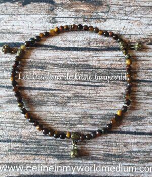 Bracelet de cheville pour aider à dépasser les difficultés, en Oeil-de-fer avec fleurs de Lotus