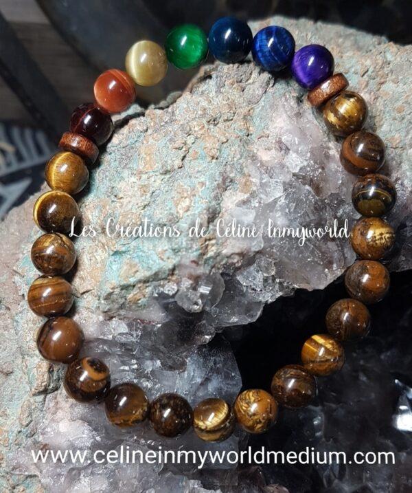 Bracelet de protection 7 chakras en oeil-de-tigre