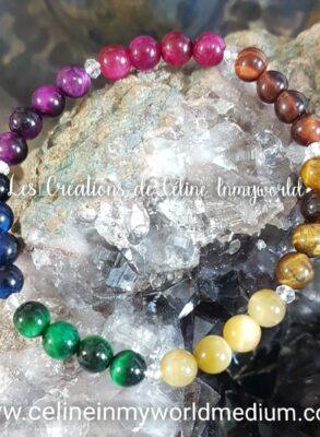 Bracelet des 7 chakras en Oeil-de-tigre (multi-couleurs) version 2