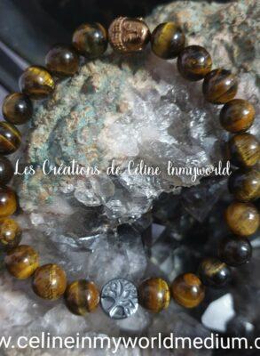 Bracelet de protection, pour se libérer du stress, en Oeil-de-tigre, avec Bouddha et Arbre de vie en Hématite