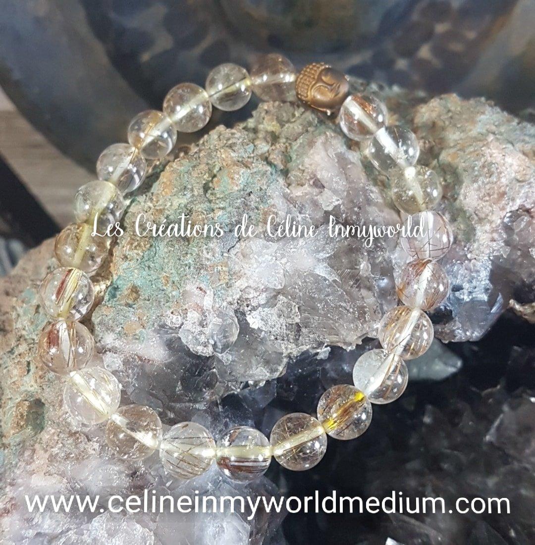 Bracelet en quartz rutile rouge avec Bouddha en Hématite plaquée couleur bronze