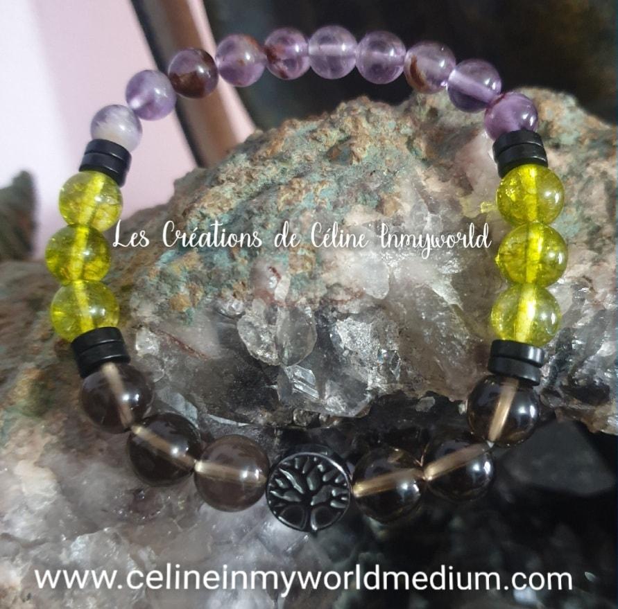 Bracelet pour l'apaisement, en Quartz fumé, Olivine (Péridot), Améthyste avec inclusions de Goethite et arbre de vie en Hématite