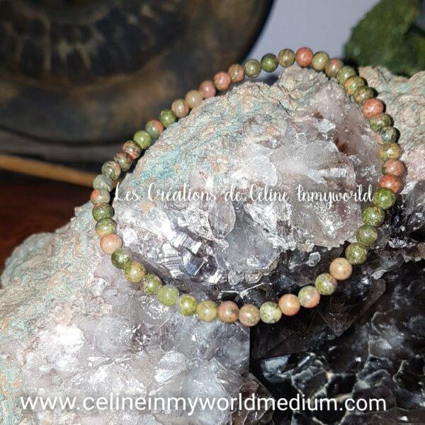 Bracelet pour la guérison et l'estime de soi, en Unakite