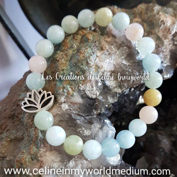 Bracelet pour se défaire du stress et pour l'élévation spirituelle, en Morganite avec fleur de Lotus