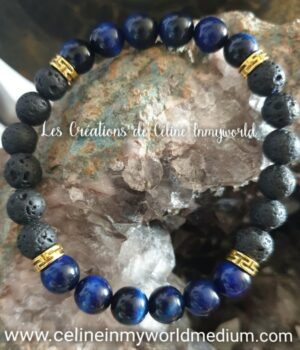 Bracelet pour se protéger des influences extérieures, en Oeil-de-tigre (teinté bleu) et Pierre de Lave