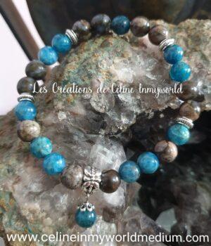 Bracelet seul pour le calme, la sérénité et la motivation, en Apatite bleue et Vulcanite
