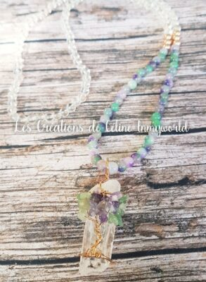 Collier sautoir en cristal de roche et fluorite (avec améthyste, aventurine verte sur le pendentif et hématite plaquée de couleur or rose)