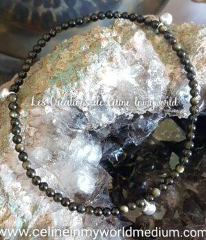 Bracelet de cheville de protection en Obsidienne dorée