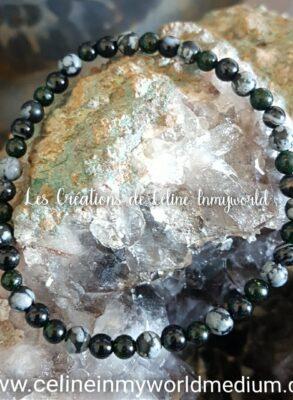 Bracelet pour éliminer les peurs et les blocages psychologiques, en Obsidienne flocons de neige