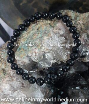 Bracelet pour l'ancrage et atténuer le stress, en Tourmaline noire