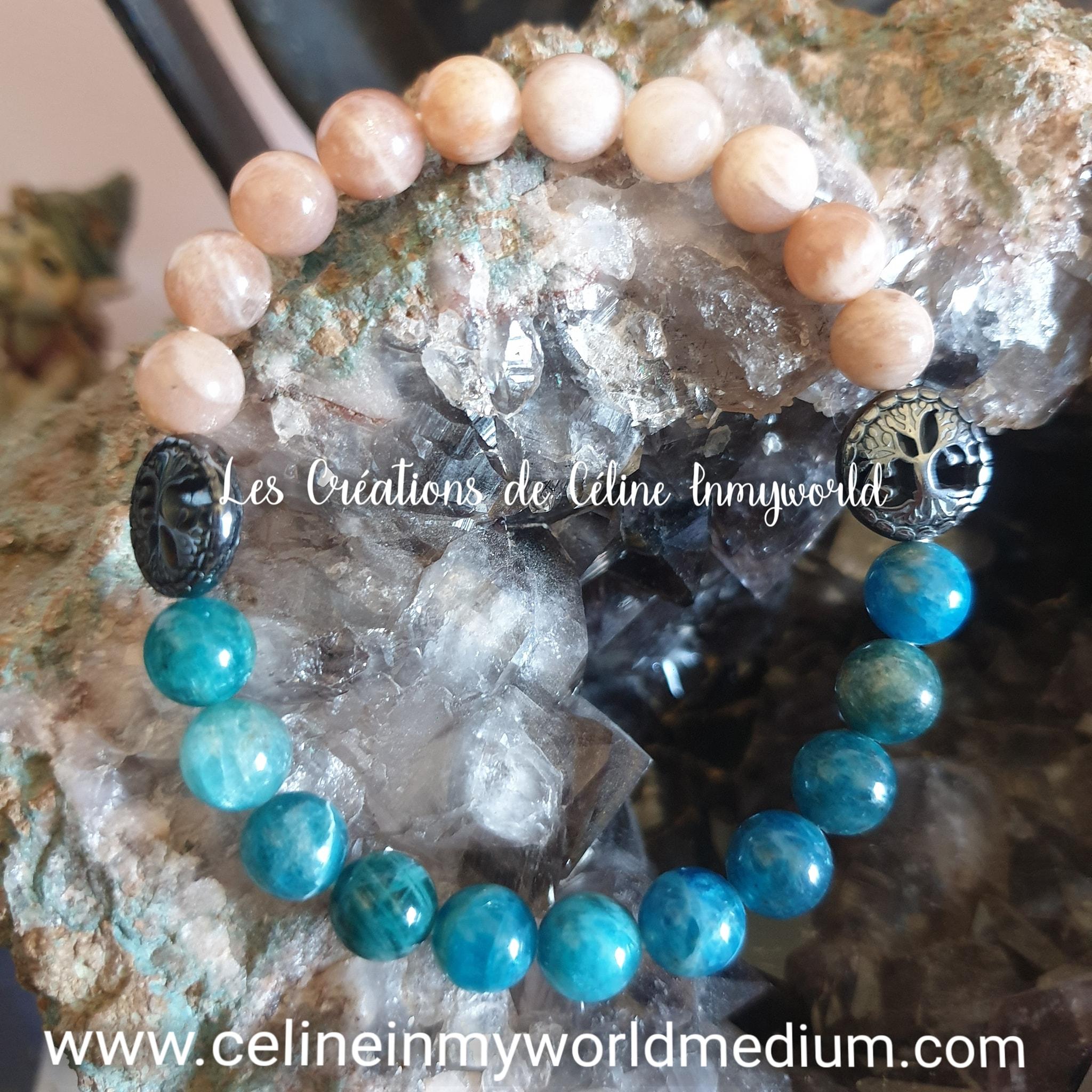Bracelet pour l'optimisme et la motivation, en Héliolite, Apatite bleue et arbre de vie en Hématite
