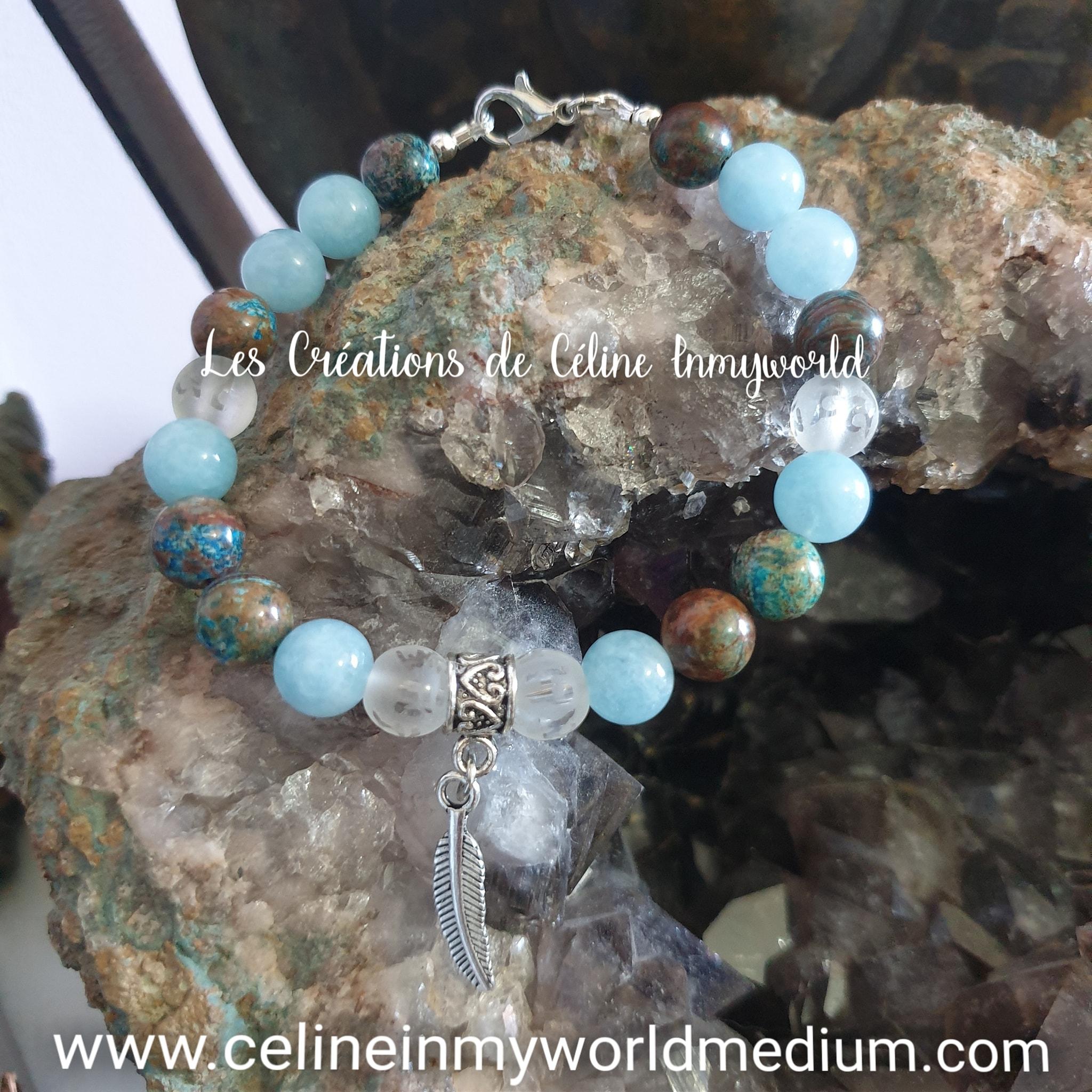 Bracelet pour la clairvoyance et l'estime de soi, en Aigue-marine, Jaspe Calsilica et Cristal de roche avec plume