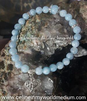 bracelet pour la clairvoyance et la sérénité avec pendentif coeur