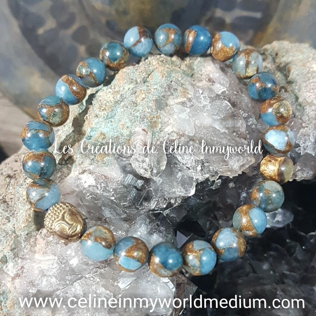 Bracelet pour la motivation, en Apatite Blue Lagon avec Bouddha