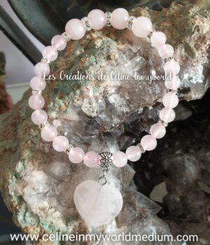 Bracelet pour la sensibilité et les capacités intuitives avec cœur en Quartz rose