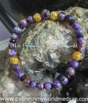 Bracelet pour la sérénité et la protection, en Jaspe sédiments et perles d'Orgonite avec feuilles d'or