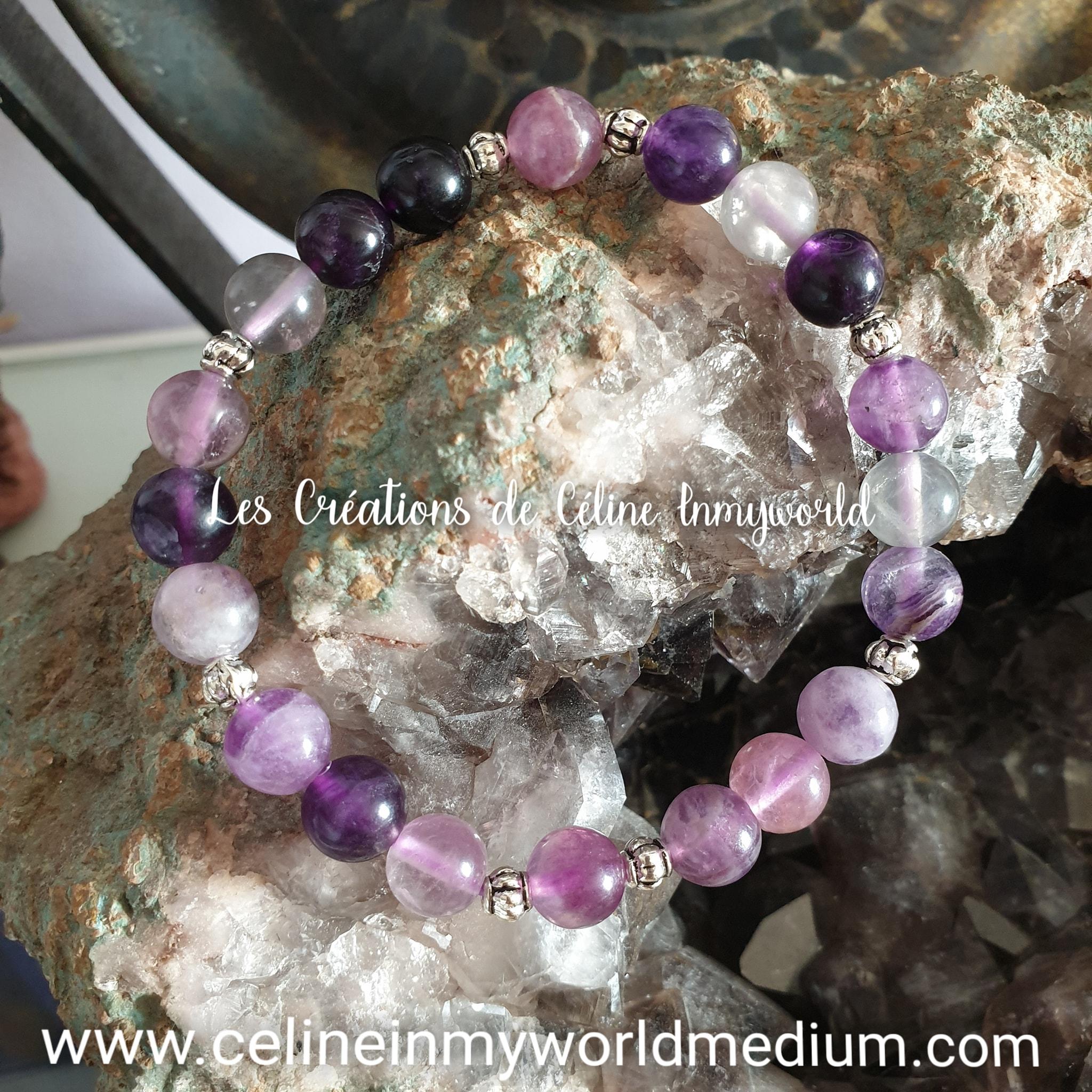 Bracelet pour la stabilité émotionnelle et la paix intérieure, en Fluorite violette