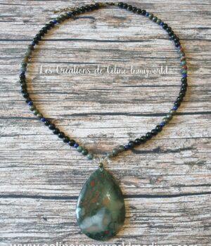 Collier de protection en Jaspe volcanique, Obsidienne arc-en-ciel, obsidienne dorée, Lapis-lazuli, Pyrite et Cristal de Roche