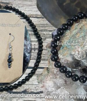 Parure collier, bracelet, boucles d'oreilles en Tourmaline noire pour l'encrage, anti-stress et sérenité