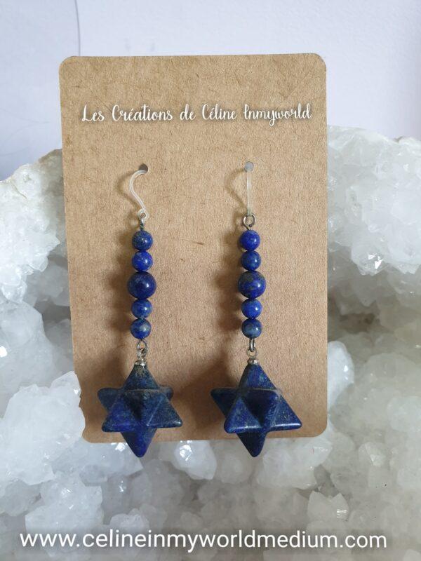 Boucles d'oreilles Merkaba pour l'épanouissement spirituel, en Lapis Lazuli