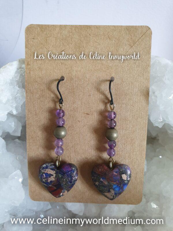 Boucles d'oreilles cœurs en Jaspe sédiments et perles d'Améthyste claire pour la sérénité et la paix