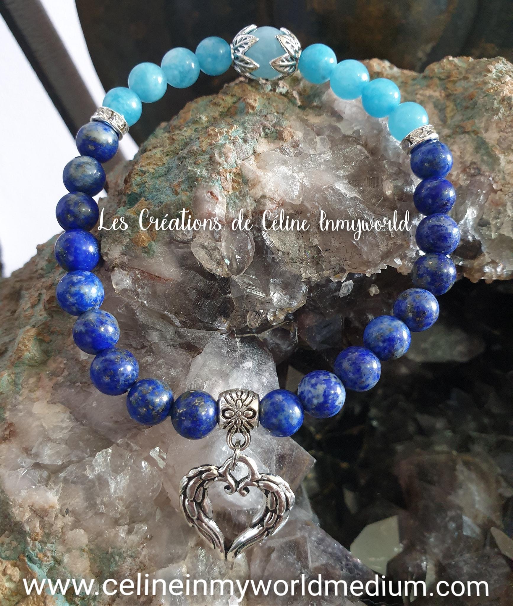 Bracelet pour la clairvoyance, la sérénité et la thyroïde, en Aigue-marine et Lapis-lazuli