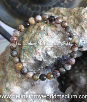 Bracelet pour les moments difficiles et contre les attaques spirituelles, en Piétersite et Obsidienne argentée