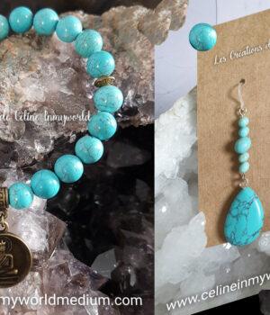 Parure bracelet et boucles d'oreilles en Turquoise avec pendentif Bouddha