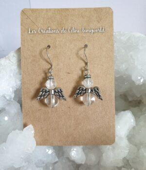 Boucles d'oreilles Angelots en Cristal de roche pour aider à rassembler ses forces et à économiser ses propres énergies