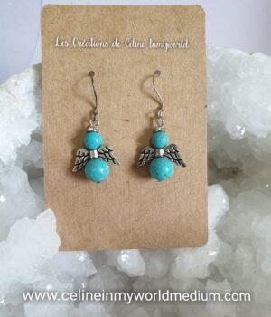 Boucles d'oreilles angelots pour protéger des influences extérieures, en Turquoise