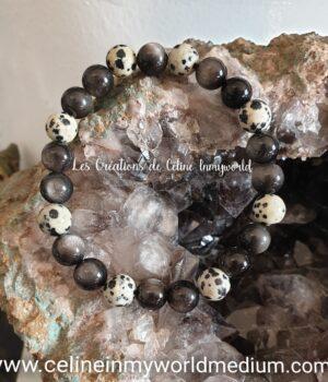 Bracelet de protection pour prendre conscience de soi, en Jaspe dalmatien et Obsidienne argentée
