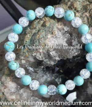 Bracelet pour équilibrer ses forces et énergies, en Cristal de roche craquelé et Turquoise