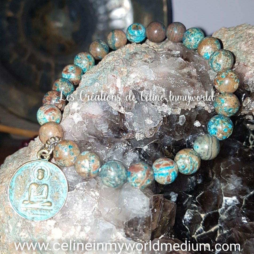 Bracelet pour l'estime de soi, en Jaspe Calsilica bleu avec Bouddha