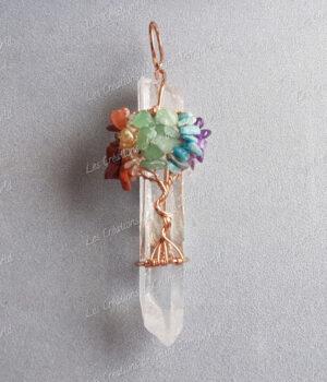 Pendentif arbre de vie 7chakras sur cristal de roche en jaspe rouge cornaline citrine aventurine verte aigue marine amethyste