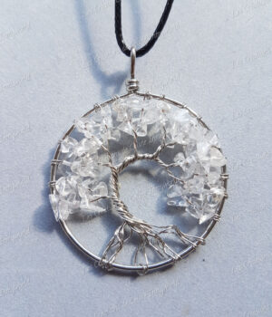Pendentif Arbre de vie argenté en Cristal de roche