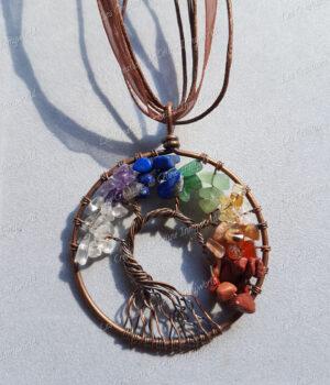Pendentif Arbre de vie bronze 7 chakras en Jaspe rouge, Cornaline, Citrine, Aventurine verte, Lapis-lazuli, Améthyste claire et Cristal de roche