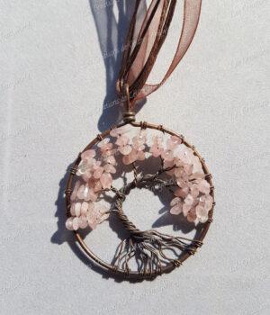 Pendentif Arbre de vie bronze en Quartz rose