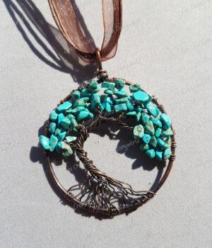 Pendentif Arbre de vie bronze en Turquoise