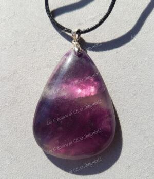 Pendentif goutte en Fluorite violette (2)