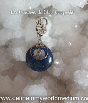 Pendentif pour le chakra de la gorge, en Lapis-lazuli sur mousqueton