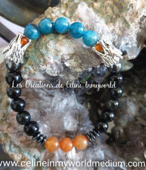 Bracelet pour la clairvoyance et trouver la motivation pour son développement personnel, avec l'énergie des Dragons en Obsidienne noire , Obsidienne arc-en-ciel, Apatite bleue, Aventurine orange et Hématite