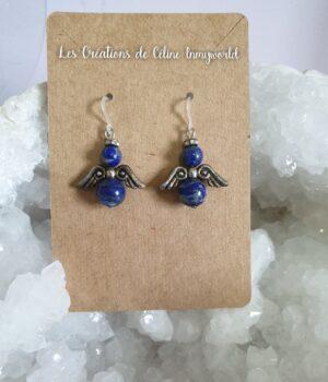 Boucles d'oreilles angelots pour le chakra du 3ème oeil, en Lapis lazuli